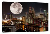 LightFairy Glow in The Dark Canvas Painting - Stretched and Framed Giclee Wall Art Print - City Urban Decor Big Moon Over City - Master Bedroom Living Room Decor - 6 Hours Glow - 36 x 24 inch