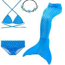 GALLDEALS Mermaid for Swimming Girls Swimsuit Princess Bikini Set Bathing Suit Swimmable Costume (No Monofin)