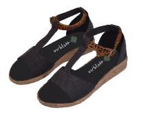 virblatt Hemp Womens Sandals with Wedge Heel and Handmade Ethnic Pattern - Sinnlich