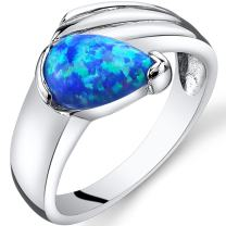Created Blue Opal Eventides Ring Sterling Silver Tear Drop Sizes 5 to 9