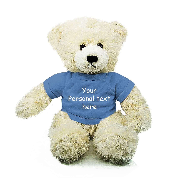 Plushland Cream Brandon Teddy Bear 12 Inch, Stuffed Animal Personalized Gift - Custom Text on Shirt - Great Present for Mothers Day, Valentine Day, Graduation Day, Birthday (Powder Blue Shirt)