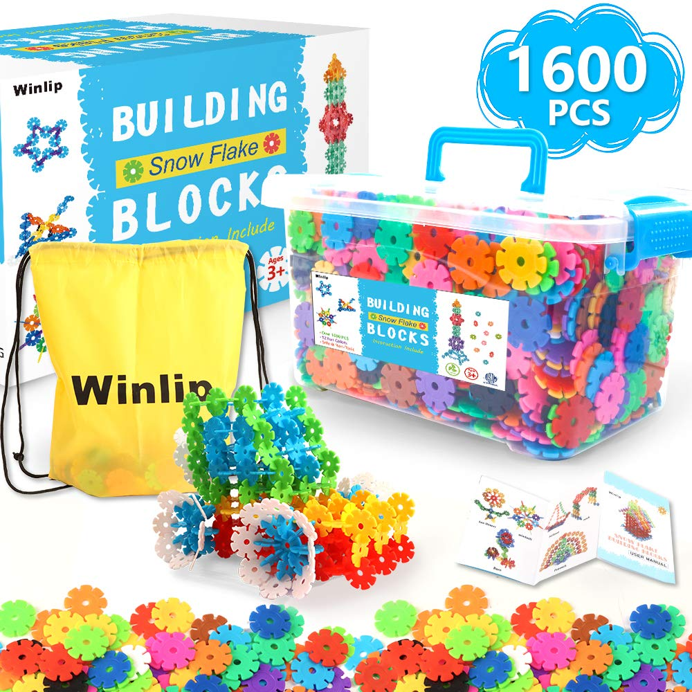 1600 pcs Building Flakes, Interlocking Plastic Disc Set Building Blocks Educational STEM Construction Toy Snow Flakes for Preschool Toddlers Girls and Boys by Winlip