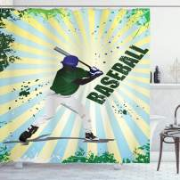 """Ambesonne Baseball Shower Curtain, Grunge Baseball Batter with Gear Athlete Competition Action Retro Illustration, Cloth Fabric Bathroom Decor Set with Hooks, 70"""" Long, Green Yellow"""