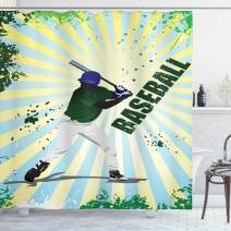 """Ambesonne Baseball Shower Curtain, Grunge Baseball Batter with Gear Athlete Competition Action Retro Illustration, Cloth Fabric Bathroom Decor Set with Hooks, 75"""" Long, Green Yellow"""
