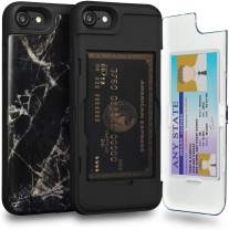 TORU CX PRO iPhone 8 Wallet Case Pattern with Hidden Credit Card Holder ID Slot Hard Cover & Mirror for iPhone 8 / iPhone 7 / iPhone SE 2020 - Black Marble