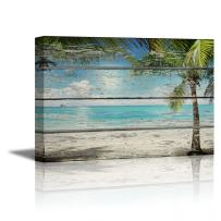 """wall26 Canvas Prints Wall Art - Tropical Beach with Palm Tree on Vintage Wood Background Rustic Home Decoration - 24"""" x 36"""""""