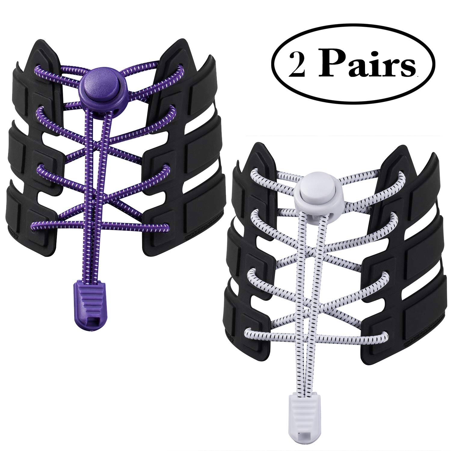 2 Pairs Shoelaces, No Tie Shoelaces Elastic Shoe Laces for Kids and Adults, Adjustable Tieless Rubber Shoe Laces Strings for Sneakers Boots Board and Casual Shoes
