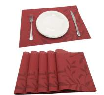 Tennove Placemats Set of 6, Washable Placemats PVC Cross Weave Woven Vinyl Table Mats for Kitchen Dining Table Decoration(D1)