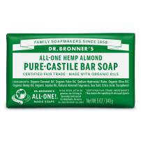 Dr. Bronner's - Pure-Castile Bar Soap (Almond, 5 ounce, 12-Pack) - Made with Organic Oils, For Face, Body and Hair, Gentle and Moisturizing, Biodegradable, Vegan, Cruelty-free, Non-GMO
