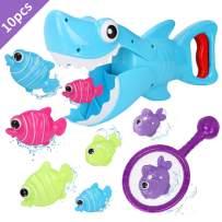 Bammax Bath Toys, Shark Grabber Baby Bath Toy Set Bathtub Toy, Great White Shark Toy with Teeth Biting Action with Pole Rod Net&8 Floating Fish, Water Bathroom Toy Bathtime Game for Toddler Infant kid