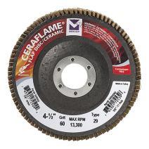 "Mercer Industries 349060 Type 29, 4-1/2""x 7/8"" Grit 60 Ceramic Flap Disc (10 Pack)"