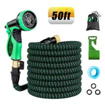 Retround Garden Hose 50ft Expandable Hose Flexible Kink-Free with Leakproof Patent Connector, 9 Functional Spray Nozzle, Durable 3-Layers Latex Core, Solid Brass, and 3750D
