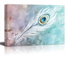 wall26 Singular Feather Painted on a Watercolor Background - Canvas Art Home Decor - 12x18 inches
