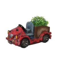 """Northlight 14.5"""" Distressed Red Vintage Car LED Lighted Solar Powered Outdoor Garden Patio Planter"""