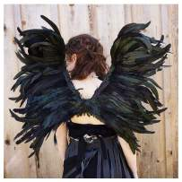 Zucker Feather Products Zucker Exotic Black Cosplay Adults-Halloween Adjustable Large Feather Angel Wings for Children and Teens