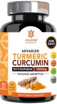 Turmeric Curcumin with Bioperine 1650mg Advanced Formula ONE Daily, Joint Pain Relief & Anti Inflammatory Supplement with Black Pepper for Best Absorption.Non-GMO, Natural, Made in USA, 30 Pills