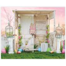 Allenjoy 10x8ft Fabric Happy Easter Theme Pink Sky Backdrop Supplies for Photography Home Mini Session Colorful Eggs Decoration Studio Newborn Kids Cake Smash Portrait Pictures Photoshoot Props Favors