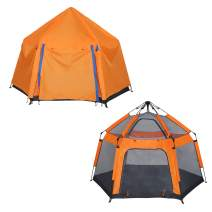 COLOR TREE 2-in-1 Kids Tent Pop Up Outdoor Camping Picnic Tent + Indoor Play Tent Boys Girls Portable Hexagon Playhouses Children Playing Have Fun