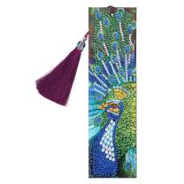 Umbresen Leather Bookmark DIY 5D Special Shaped Diamond Painting by Number Kits,Beaded Tassel Book Marks Art Craft Mosaic Making Gifts for Christmas, Thanksgiving, New Year, Birthday (Peacock 3)