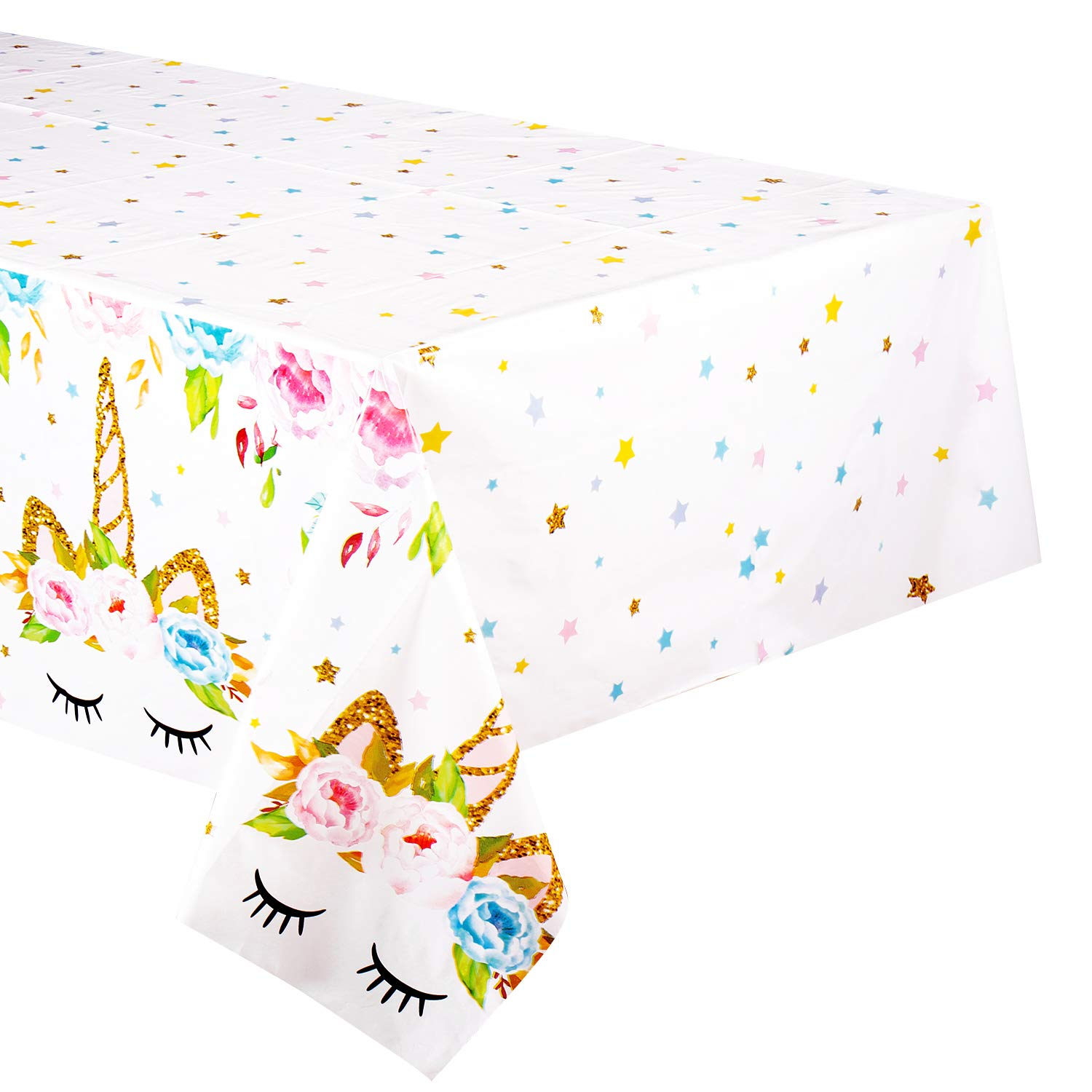 4 Pack Unicorn Plastic Tablecloth - FZR Legend Unicorn Birthday Party Supplies   53 x 90 inches,Disposable Table Covers   Magical Unicorn Party Decorations for Girls and Baby Shower (4)