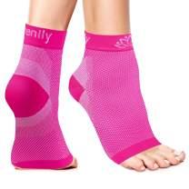 Serenily Plantar Fasciitis Socks - Toeless Socks, Arch Support Socks for Foot Pain Relief & Plantar Fasciitis. Ankle Compression Socks for Achilles Tendinitis. Foot Sleeve for Women & Men (Pink L/XL)