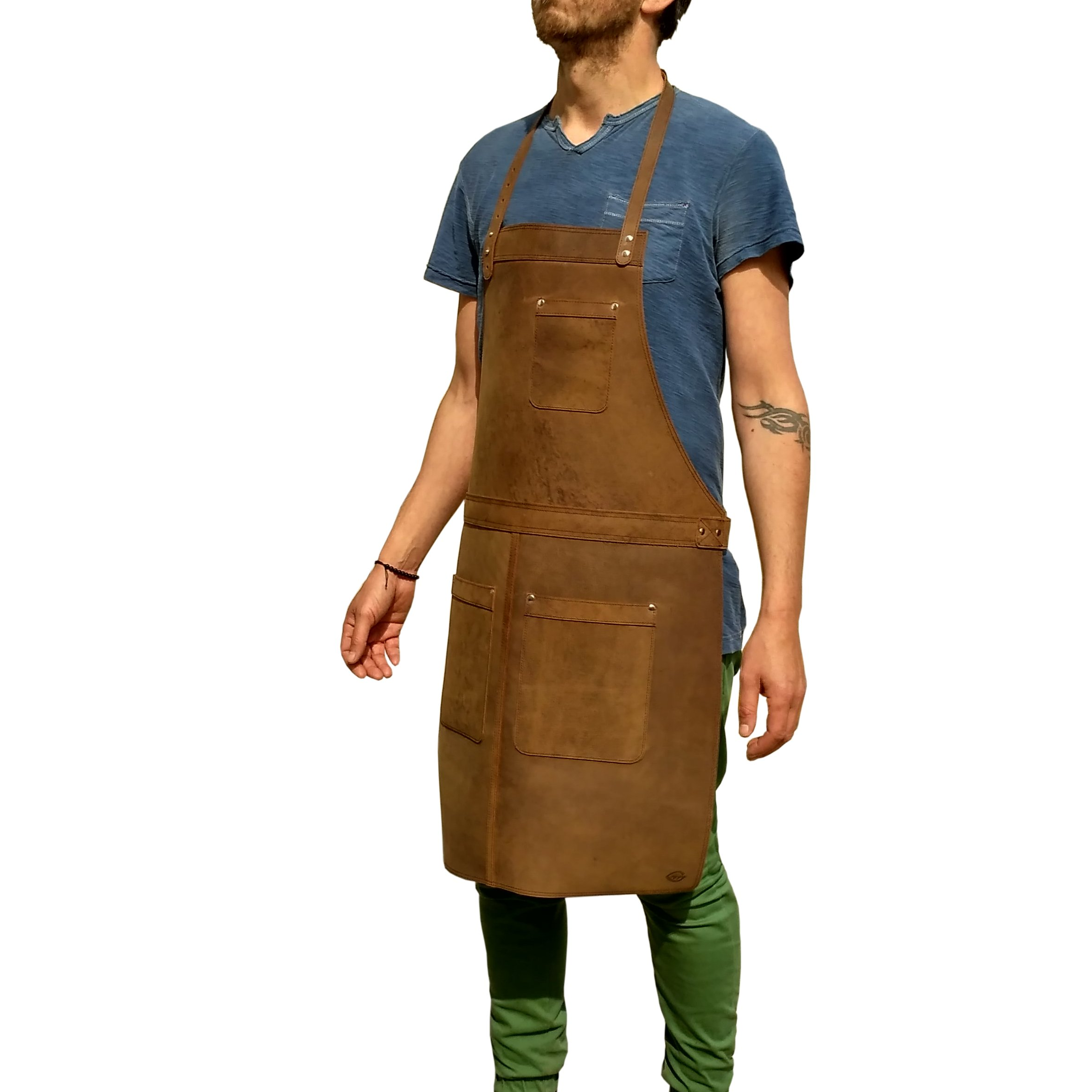 ONE LEAF Ultimate Leather Apron for Workshop and Kitchen (Silver Color Hardware)