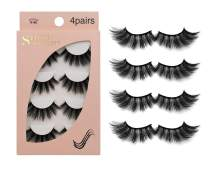 False Eyelashes 4 Pairs - Professional Reusable Face Eyelashes Fit for All Eyes, Natural Thick Hand-Made 3D Faux Mink Eyelashes for a Beautiful Makeup Look (G106)