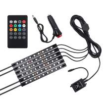 LED Interior Car Lights Justech 6PCs 12V 54LEDs 7 Color RGB Decorative Atmosphere Neon Lights Strip Underdash Lighting Kit with Wireless Remote Control and Sound Active Function-Car Charger Version
