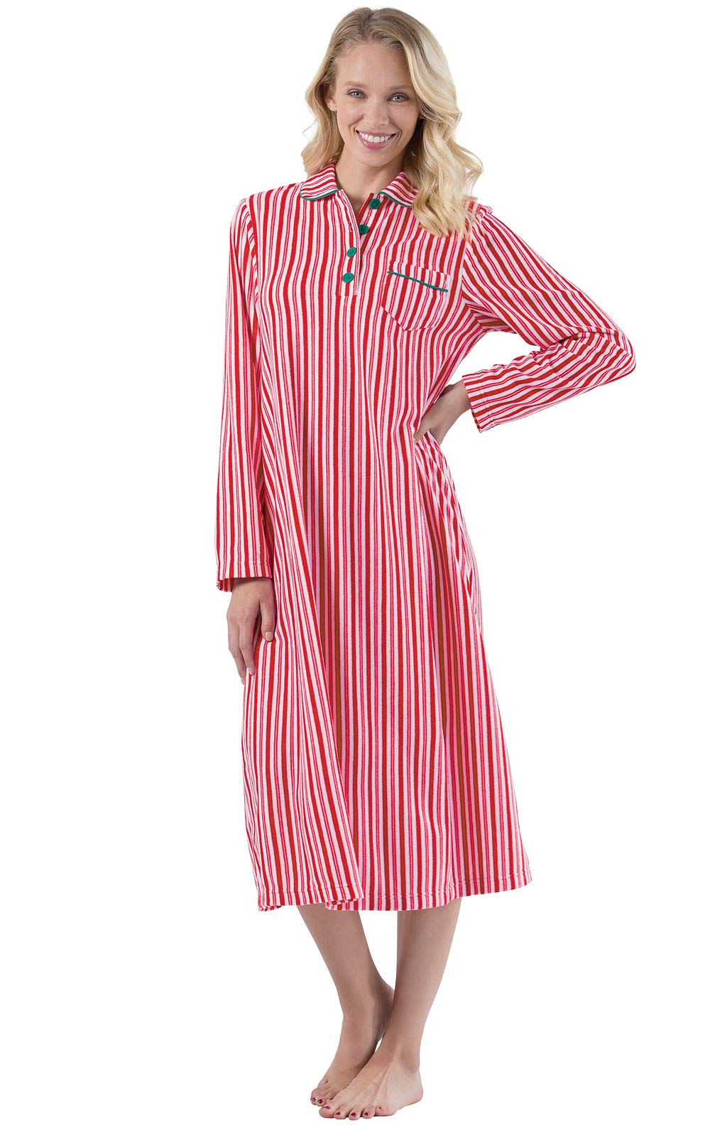 PajamaGram Women's Long Fleece Nightgown - Womens Christmas Nightgown