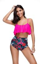 LHS Charmer Women Two Piece Off Shoulder Ruffled Flounce Crop Bikini Top with Print Cut Out Bottoms