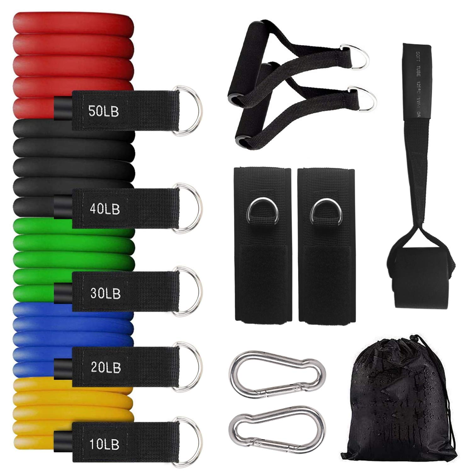 DHSO Upgraded Resistance Bands Set(150lbs) - 5 Stackable Exercise Bands,Door Anchor, Foam Handles, Legs Ankle Straps, Carry Bag for Pilates Training, Physical Therapy, Home Workouts
