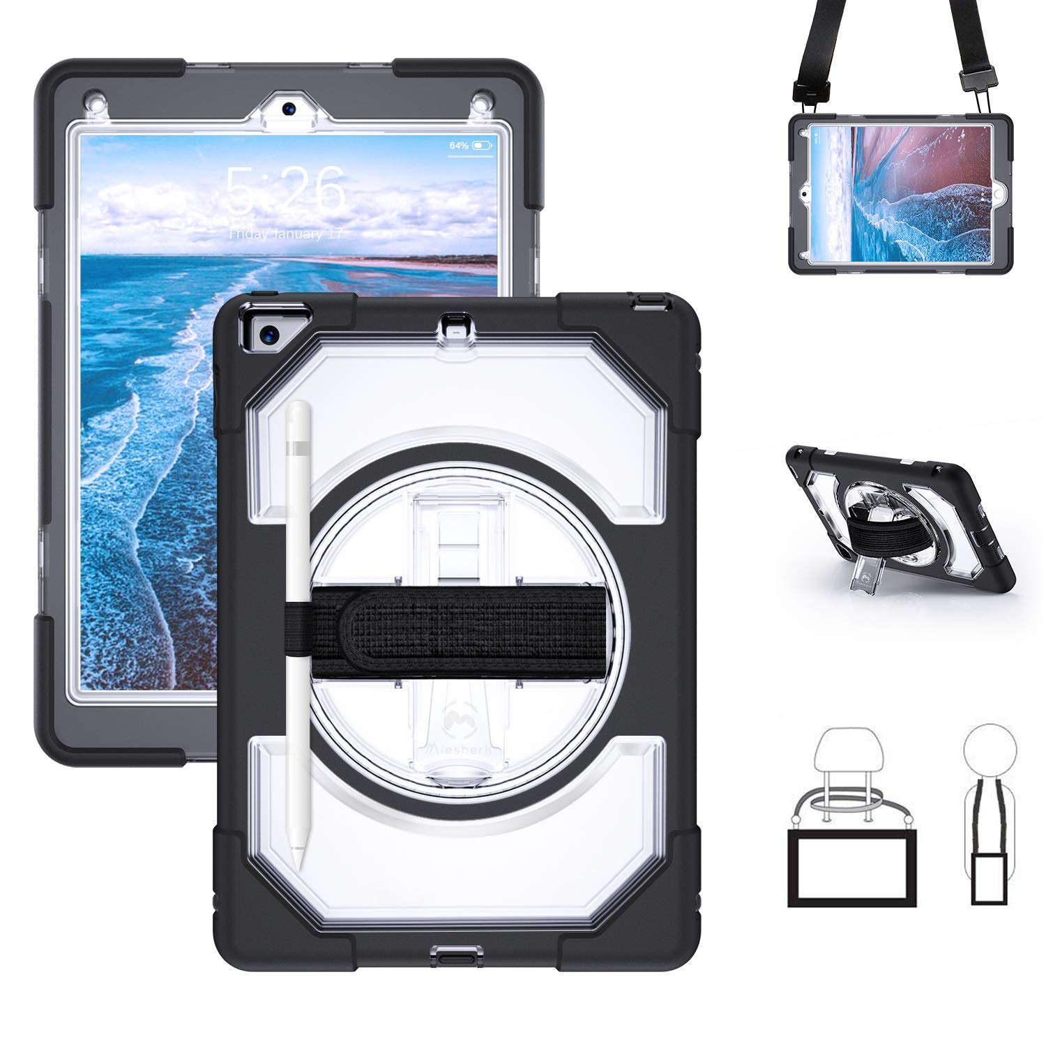 """Miesherk iPad 6th/5th Generation 9.7 Case, 360 Rotating Stand Three Layer Hybrid Drop Protection Case with Pencil Holder Hand Strap Shoulder Strap for iPad 9.7"""" 2017/2018, Clear Black"""