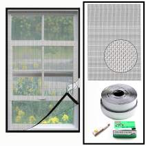 Loboo Idea Fiberglass Window Screen Netting Mesh Curtain, Size Up to 25 x 30 Inch Max, DIY Screen Window with Full Frame Hook and Sticky Tape Easy Installation (Grey)