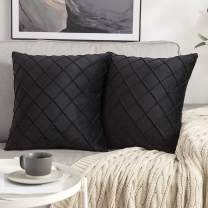 MIULEE Velvet Throw Pillow Covers Decorative Square Soft Solid Pillowcases Plaid 20 X 20 Inch Black Couch Pillows Set of 2 Cushion Covers with Invisible Zipper for Sofa Bedroom Living Room