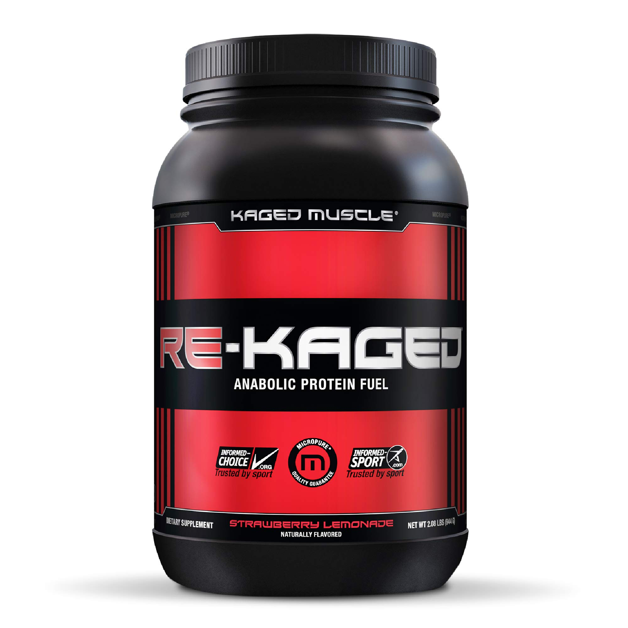 Post Workout Protein Powder, RE-KAGED Whey Protein Powder, Great Tasting Protein Shake with Whey Protein Isolate for Fast Post Workout Recovery with Complete BCAAs & EAAs, Strawberry Lemonade