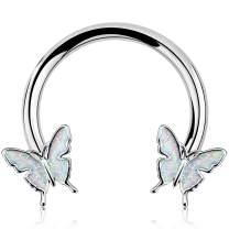 Jewseen Septum Ring Horseshoe Hoop Earring Cartilage Earring Hoop 16G Nose Ring Hoop Butterfly Captive Bead Rings Tragus Daith Rook Helix Piercing Body Jewelry