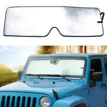 Sporthfish Front Windshield Sunshade Custom-fit Sun Shade for 2007-2017 Jeep Wrangler JK