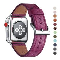 WFEAGL Compatible iWatch Band, Top Grain Leather Band Replacement Strap with Stainless Steel Clasp for iWatch Series 5/4/3/2/1,Sport, Edition (Purple Band+Silver Adapter, 38mm 40mm)