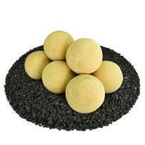 Ceramic Fire Balls   Set of 8   Modern Accessory for Indoor and Outdoor Fire Pits or Fireplaces – Brushed Concrete Look   Dandelion Yellow, 5 Inch