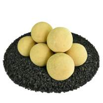 Ceramic Fire Balls | Set of 8 | Modern Accessory for Indoor and Outdoor Fire Pits or Fireplaces – Brushed Concrete Look | Dandelion Yellow, 5 Inch