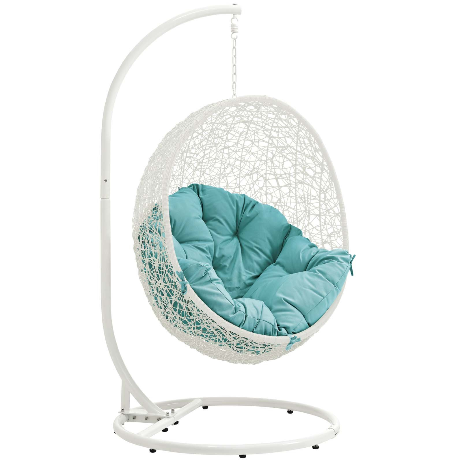 Modway Hide Wicker Rattan Outdoor Patio Porch Lounge Egg Swing Chair Set with Stand in White Turquoise