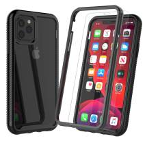 """Njjex Case For iPhone 11 Pro MAX, For iPhone 11 Pro Max Case 6.5"""" W/[Tempered Glass Screen Protector], [Npatt] Hybrid Impact Clear Back Soft TPU Bumper Armor Rugged Shockproof Slim Phone Cover [Black]"""