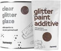 Hemway Clear Glitter Paint Glaze (Bronze) 1L / Quart for Pre-Painted Walls Acrylic, Latex, Emulsion, Ceiling, Wood, Varnish, Dead Flat, Matte, Soft Sheen, Silk (Choice of 25 Glitter Colours)