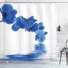 "Ambesonne Blue Shower Curtain, Orchid Corsage Composition with Reflection in Water Desgin Bridal Garden, Cloth Fabric Bathroom Decor Set with Hooks, 75"" Long, Violet Blue"