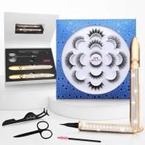 Magic Eyelashes with Eyeliner Kit, 7 Styles No Magnetic False Lashes and 2 Tubes Light Glue Eyeliners, Reusable Eyelash Set with Self Adhesive Eye Liners Pen