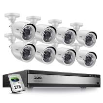 ZOSI 1080p 16 Channel Security Camera System,1080N 16 Channel DVR with Hard Drive 2TB and 8 x 1080p Weatherproof Home Surveillance CCTV Bullet Camera Outdoor Indoor with Night Vision