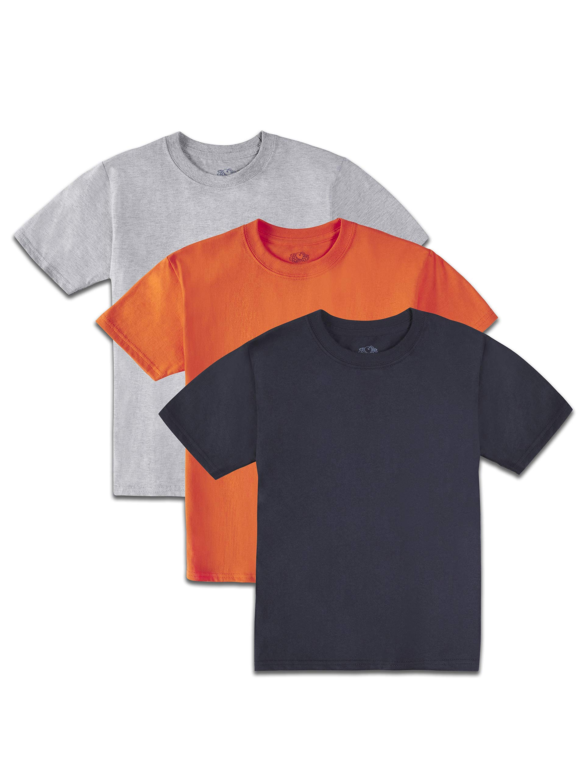 Fruit of the Loom Boys' Solid Multi-Color Short Sleeve Soft Crew T-Shirts, 3 Pack