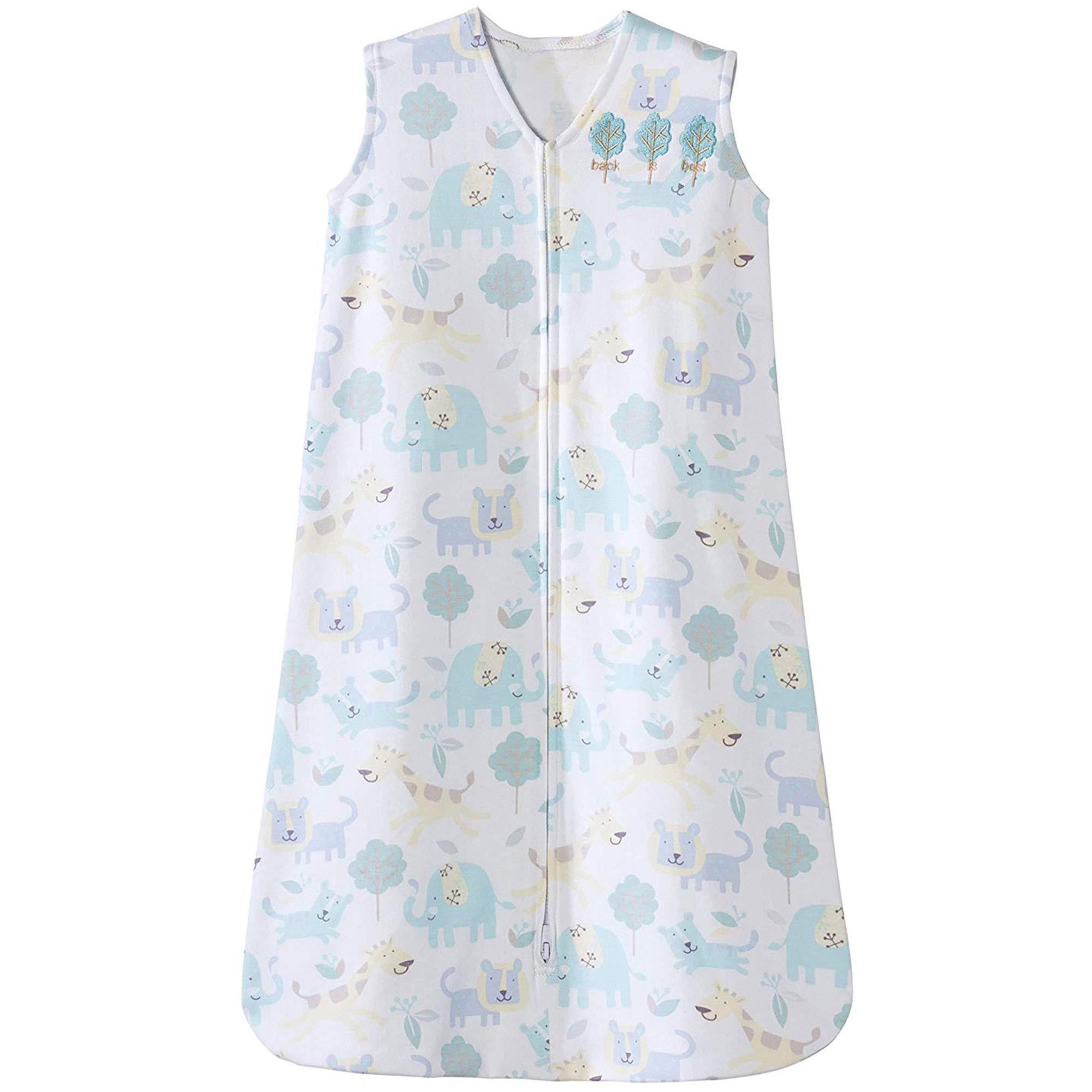 Halo Sleepsack Cotton Wearable Blanket, Blue Jungle Animal, Medium