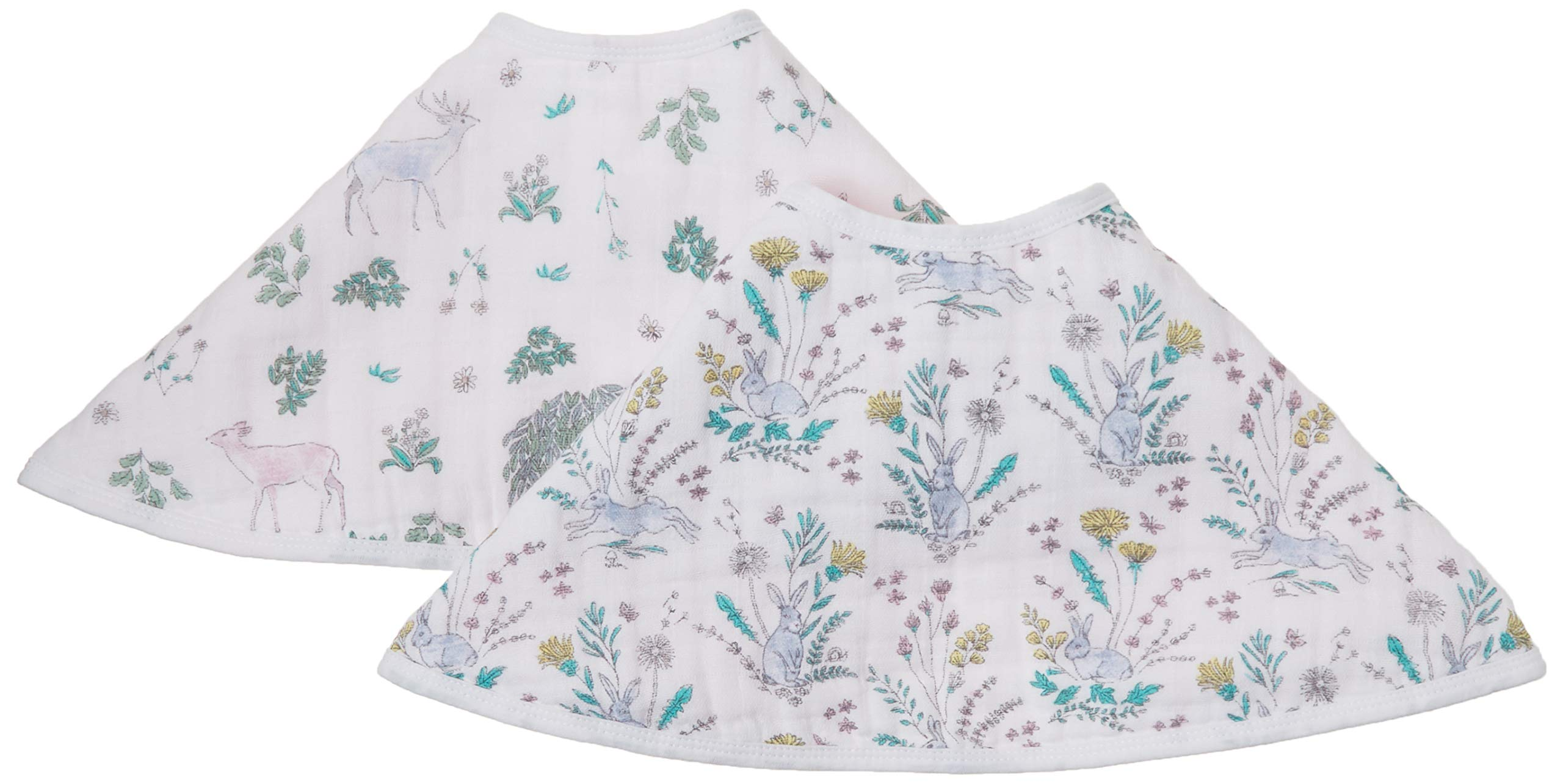 """aden + anais Burpy Bib, 100% Cotton Muslin, Soft Absorbent 4 Layers, Multi-Use Burp Cloth and Bib, 22.5"""" X 11"""", 2 Pack,  Forest Fantasy"""