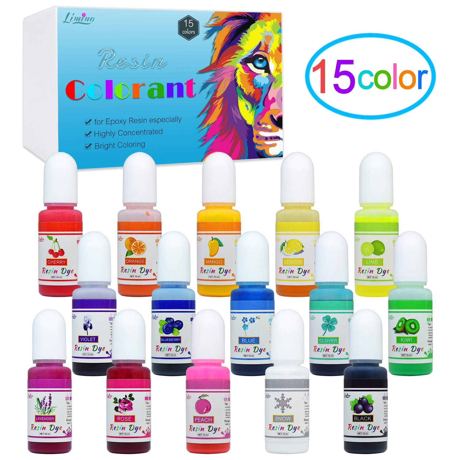 Epoxy Resin Pigment - 15 Color Liquid Epoxy Resin Dye - Highly Concentrated Epoxy Resin Colorant for Resin Coloring Art, DIY Jewelry Making Supplies - AB Resin Coloring for Paint, Crafts - 10ml Each